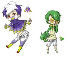 PKMNGijinka Drifblim and Snivy by Hitashi-san