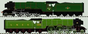 LNER A3 liveries - 60041 / 2506 'Salmon Trout' by 2509-Silverlink