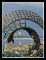 Lobster pot and Lighthouse by moonstomp