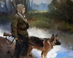 A girl and her dog by alexson1