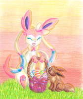 Happy Easter 2013 From Sylveon and Eevee by StarGazingKitten