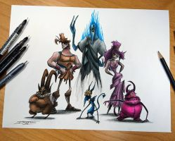 Creepyfied Hercules and gang by AtomiccircuS