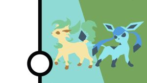 Glaceon and Leafeon Minimalist Wallpaper by Narflarg