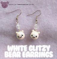 White glitzy bear Earrings by xlilbabydragonx