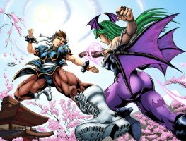 Chun Li Vs Morrigan by logicfun