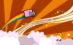 Nyan cat-fox background by 4ofclubs