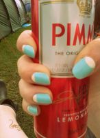 Vintage blue Nails by Iszy-chan