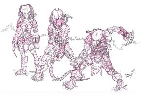 Predators - Pencil and ink by Shapshizzle