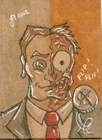 Two-Face cardboard sketch card by johnnyism