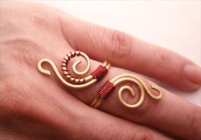 Victorian  Wire Wrapped Brass Ring by bleek70