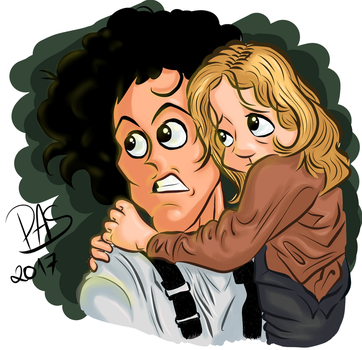 Aliens, Ripley and Newt caricature by pedro-amaral-couto
