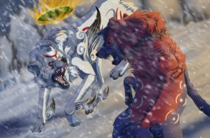 A Chilly Encounter - Okami + SPEEDPAINT by Sally-Ce