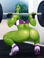 She-Hulk lifting [Commission] by svanas
