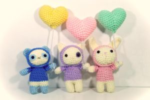 Bubbles, Pearl and Snowflake - Amigurumi Pattern by milliemouse579
