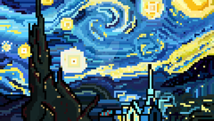 Pixel Starry Night (Vincent van Gogh) by AndreaTarricone