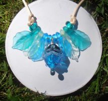 Aqua tinted glass pod necklace by fairyfrog
