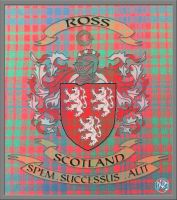 Ross Scottish Coat Of Arms With Tartan And Motto by DCRIII