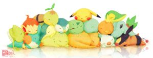 Pokemon: Sleepy Starters by aoineko