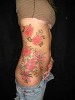 Flower Tattoo at Thick Waist by aashishsahrawat