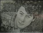 Nick Jonas pencil portrait by Jonny5nLala