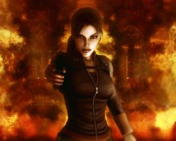 Lara Croft In Flames by Halli-well