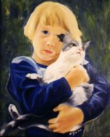 Boy with cat by MindGem