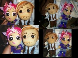 Tonks and Lupin plushies by tonksiford
