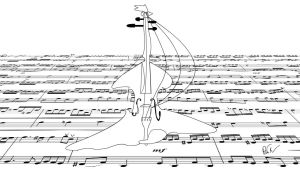 Literalness: mad viola on the notes ocean by PAHalny