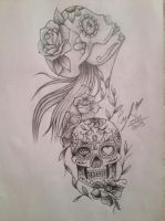 Katrina and Mexican Skull by xCyhx