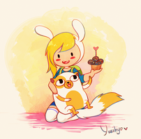 Fionna and Cake: Cuddle Time! by YukiHyo