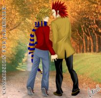 KH:AkuRoku - Fall -Commish- by cacell