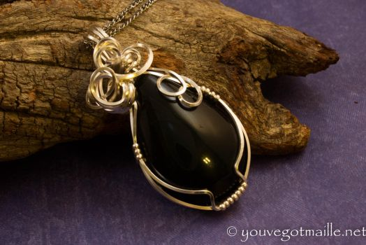 Rainbow Obsidian Wire Wrapped Pendant by youvegotmaille