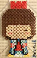 Brown Haired Kokeshi Doll by PerlerPixie