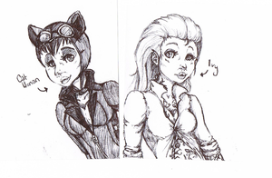 catwoman and ivy in pen by TheSkimpyMinion