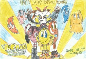 Happy B-Day PapiWolfFox640 X Pac-Man and G.A. by FelixToonimeFanX360