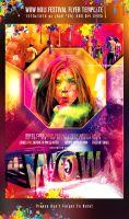 PSD WOW Holi Festival Flyer Template by retinathemes