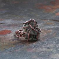 Tree Agate Ring- Earthy- Hammered Copper Wire by Shanti-Lewis