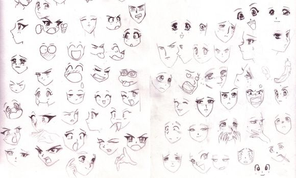Anime faces by SparrowsHellcat