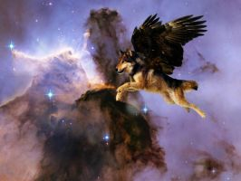 Wolf flying trough Nebula by Lintufriikki