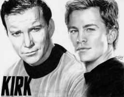 Captain Kirk: Shatner + Pine by friedChicken365