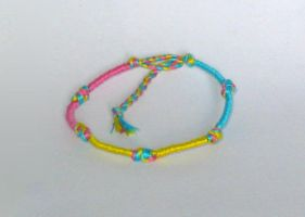Pansexual Pride Frienship Bracelet by catnmaus