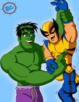 Hulk Vs Wolverine by LoveMyBlueBully