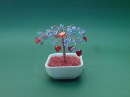 Bonsai Wire Tree Sculpture Beaded Hearts by sinisaart