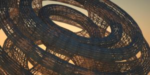 Detail of scaffolded mobius shape by davidbrinnen