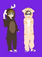 Elliott Moose and Parker the Cat by Undeadhatred