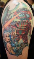 Retro Robot Space Invasion by seanspoison