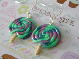 Candy Swirl Lollipop Earrings by CharmingLittleFox