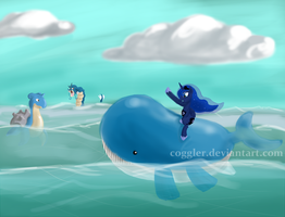 Luna on a Wailord by Coggler