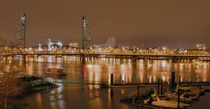 The Willamette River at night by MogieG123