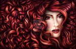 Red Portrait by ElvenIllusionist
